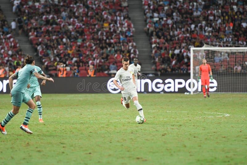Kallang-Σιγκαπούρη 28 Ιουλίου 2018: Giovani LO Celso 18 φορέας PSG ι στοκ εικόνα