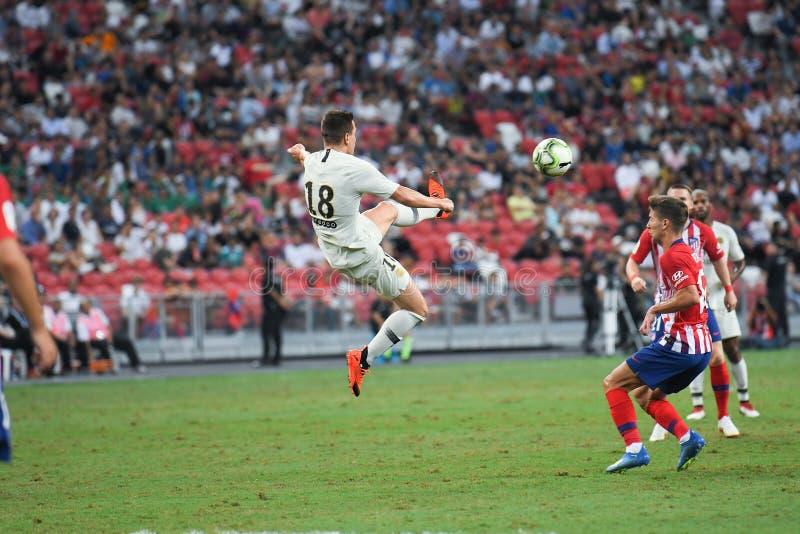 Kallang-Σιγκαπούρη 30 Ιουλίου 2018: Giovani lo Celso 18 φορέας PSG ι στοκ εικόνες