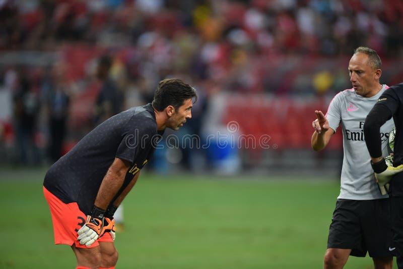 Kallang-Сингапур 28-ое июля 2018: Игрок Gianluigi Buffon 30 PSG i стоковые фото