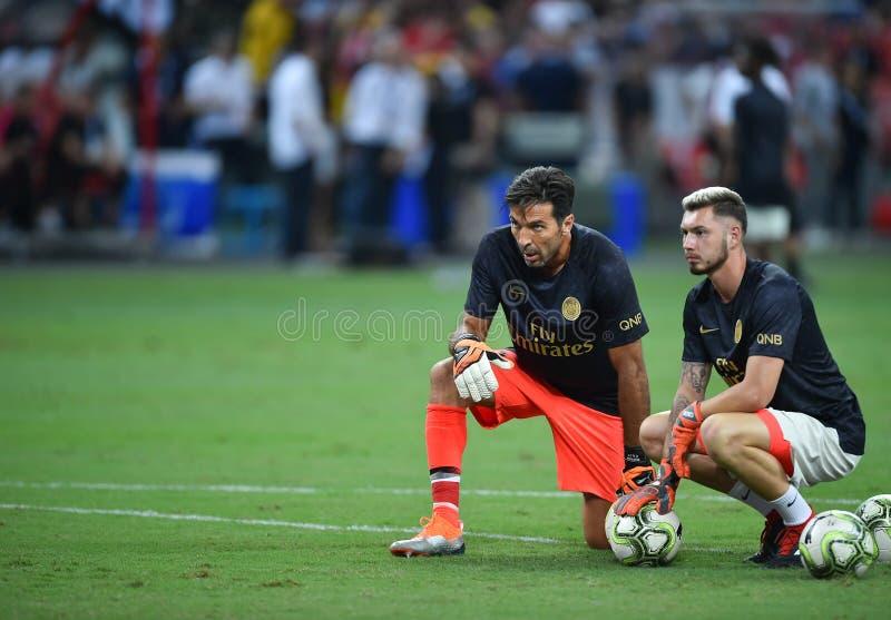 Kallang-Сингапур 28-ое июля 2018: Игрок Gianluigi Buffon 30 PSG i стоковая фотография