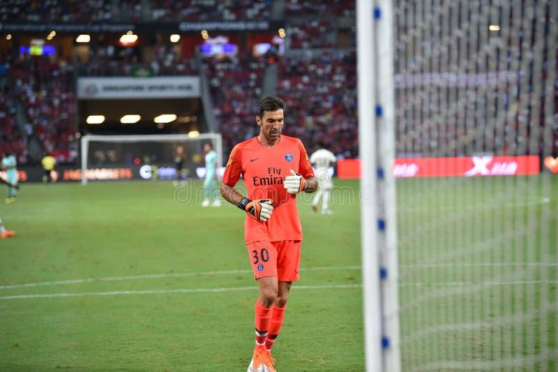 Kallang-Сингапур 28-ое июля 2018: Игрок Gianluigi Buffon 30 PSG i стоковое фото rf