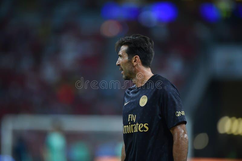 Kallang-Сингапур 28-ое июля 2018: Игрок Gianluigi Buffon 30 PSG i стоковое изображение