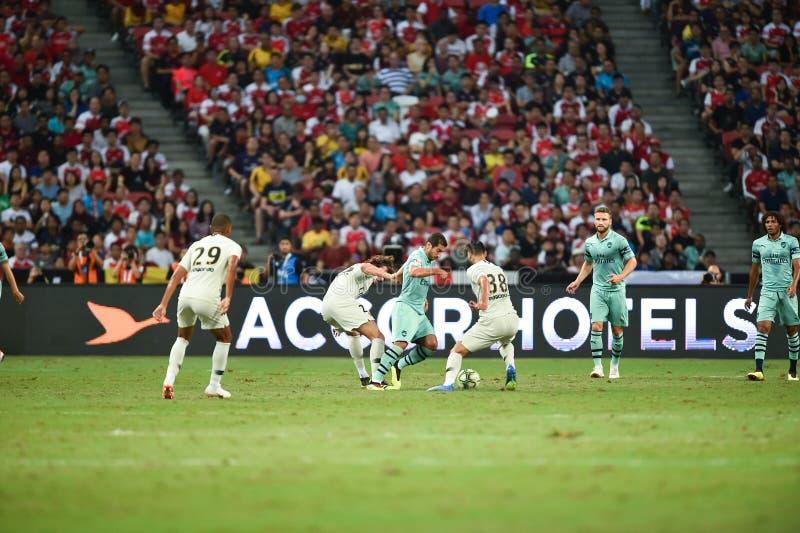 Kallang-Сингапур 28-ое июля 2018: Игрок 7 Henrikh mkhitaryan задницы стоковые фотографии rf