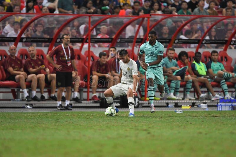 Kallang-Сингапур 28-ое июля 2018: Игрок toufiqui 38 Azzedine PSG стоковое фото rf