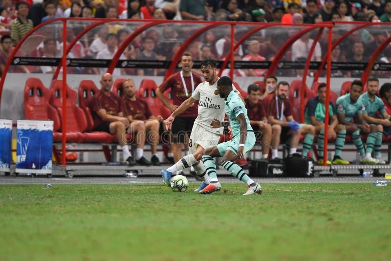 Kallang-Сингапур 28-ое июля 2018: Игрок toufiqui 38 Azzedine PSG стоковое фото