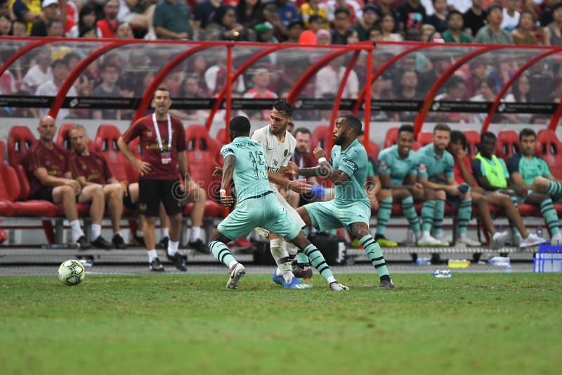 Kallang-Сингапур 28-ое июля 2018: Игрок toufiqui 38 Azzedine PSG стоковые фото