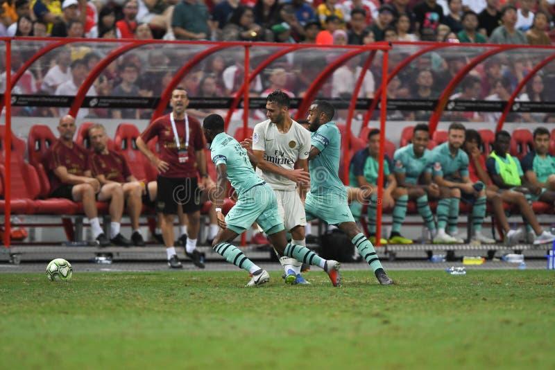 Kallang-Сингапур 28-ое июля 2018: Игрок toufiqui 38 Azzedine PSG стоковое изображение