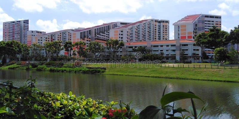 Kallang flod på det Potong Pasir bostadsområdet royaltyfri foto