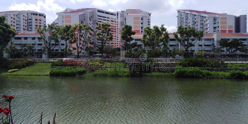 Kallang rzeka przy Potong Pasir lokalow? nieruchomo?ci? obraz stock