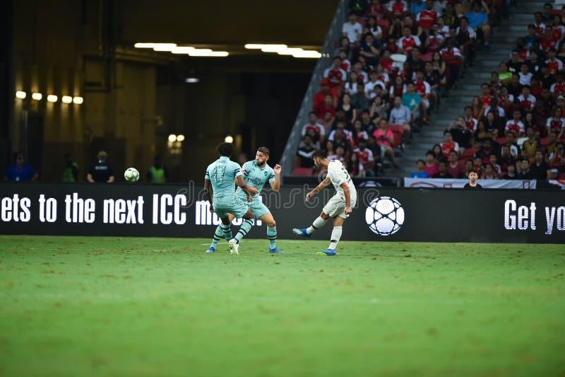 Kallang-Singapore-28Jul2018: Azzedinetoufiqui 38 Speler van PSG royalty-vrije stock foto's