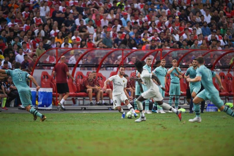 Kallang-Singapore-28Jul2018: Azzedinetoufiqui 38 Speler van PSG royalty-vrije stock fotografie