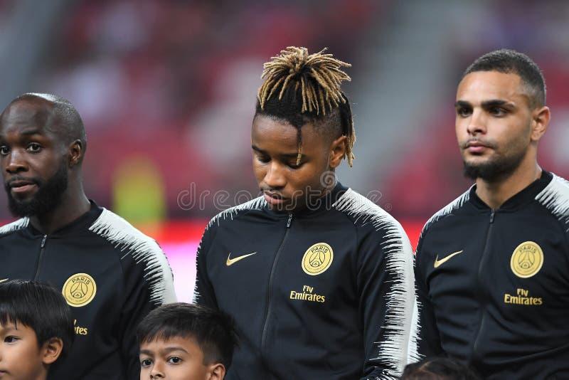 Kallang-Singapore-30Jul2018: Christopher-nkunku 24 speler van PSG stock foto