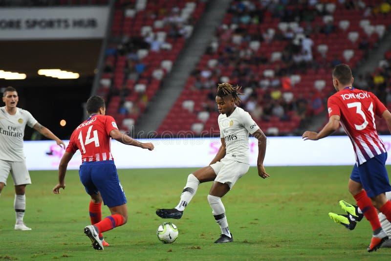 Kallang-Singapore-30Jul2018: Christopher-nkunku 24 speler van PSG royalty-vrije stock foto's
