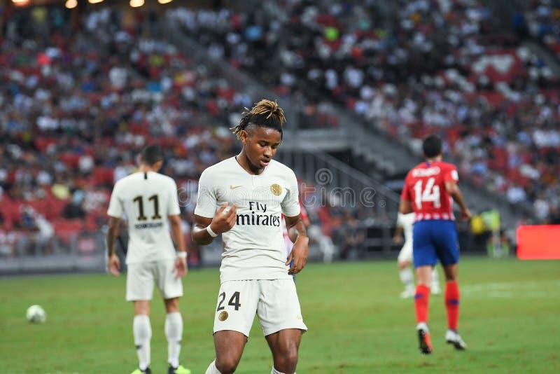 Kallang-Singapore-30Jul2018: Christopher-nkunku 24 speler van PSG royalty-vrije stock foto