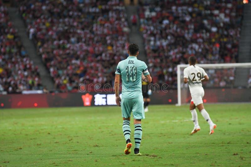 Kallang-Singapore-28Jul2018: De Speler van Mesut Ozil #10 van arsenaal binnen stock afbeelding