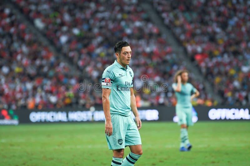 Kallang-Singapore-28Jul2018: De Speler van Mesut Ozil #10 van arsenaal binnen royalty-vrije stock afbeelding