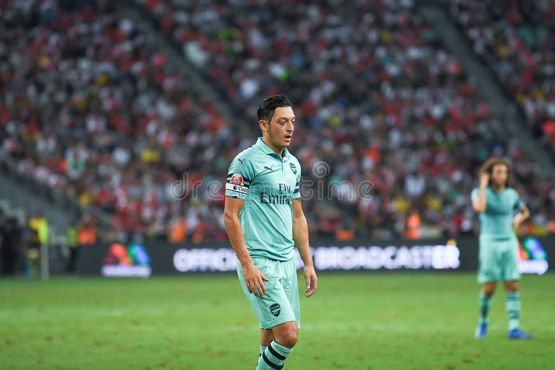 Kallang-Singapore-28Jul2018: De Speler van Mesut Ozil #10 van arsenaal binnen stock foto