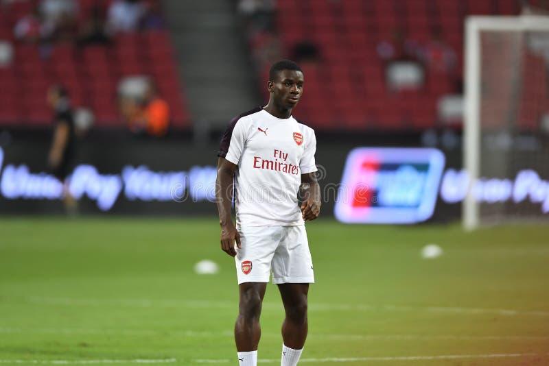 Kallang-Singapore-26Jul2018: Eddie Nketiah-speler van arsenaal in a royalty-vrije stock fotografie