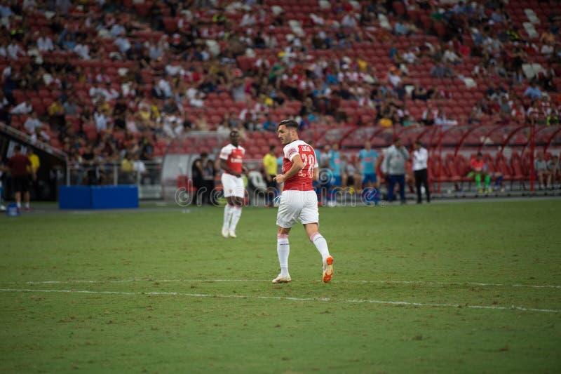 Kallang-Singapore-26Jul2018: Lucas Perez 28 Speler van arsenaal binnen royalty-vrije stock foto's