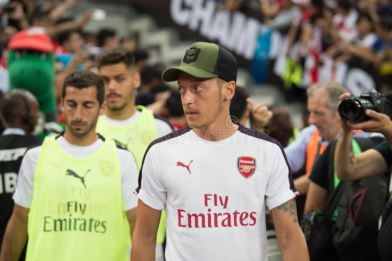 Kallang-Singapore-26Jul2018:Mesut ozil 10 player of arsenal in. Action during icc2018 between arsenal against at atletico de madrid at national stadium stock photography