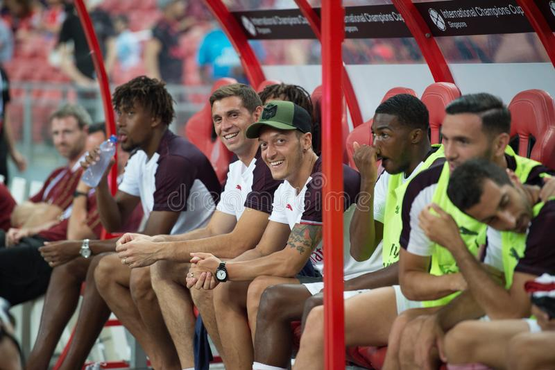 Kallang-Singapore-26Jul2018:Mesut ozil 10 player of arsenal in. Action during icc2018 between arsenal against at atletico de madrid at national stadium stock image