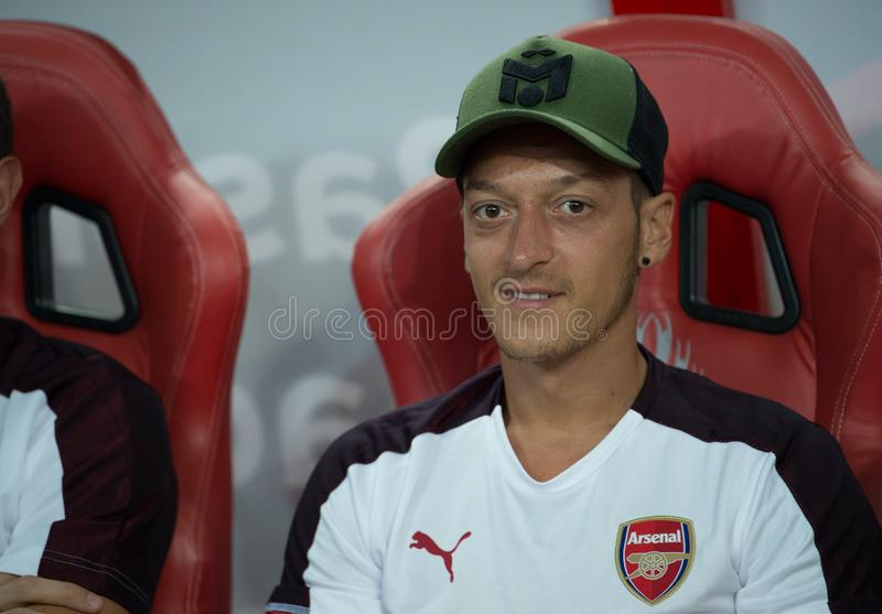 Kallang-Singapore-26Jul2018:Mesut ozil 10 player of arsenal in. Action during icc2018 between arsenal against at atletico de madrid at national stadium stock photos