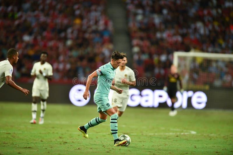 Kallang-Singapore-28Jul2018:Mesut Ozil 10 Player of arsenal in. Action during icc2018 between arsenal against at paris saint-german at national stadium royalty free stock photography