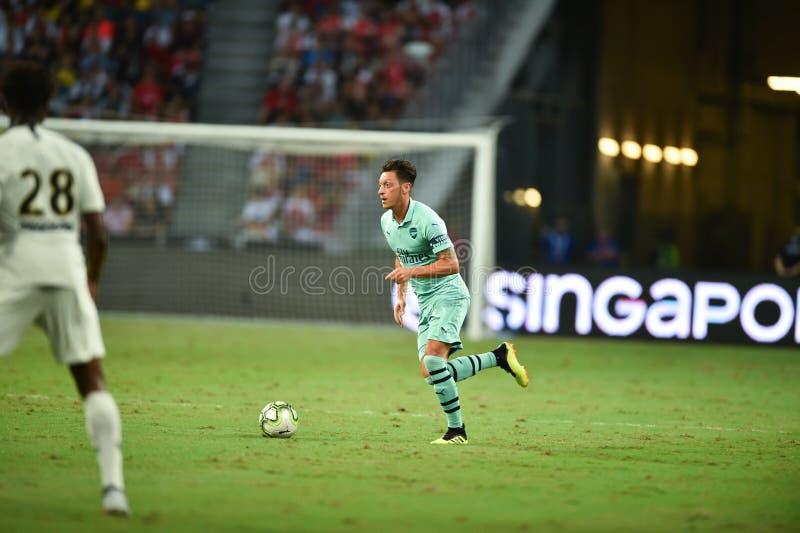 Kallang-Singapore-28Jul2018:Mesut Ozil 10 Player of arsenal in. Action during icc2018 between arsenal against at paris saint-german at national stadium royalty free stock images