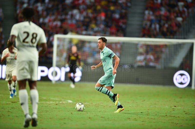 Kallang-Singapore-28Jul2018:Mesut Ozil 10 Player of arsenal in. Action during icc2018 between arsenal against at paris saint-german at national stadium stock photography