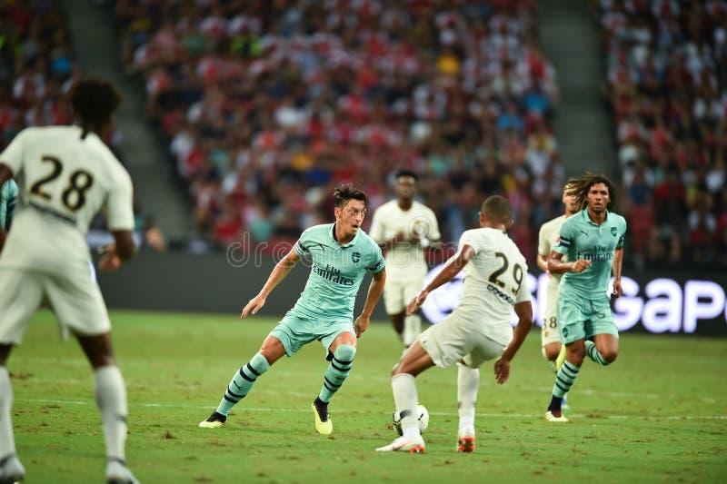 Kallang-Singapore-28Jul2018:Mesut Ozil 10 Player of arsenal in. Action during icc2018 between arsenal against at paris saint-german at national stadium royalty free stock photo