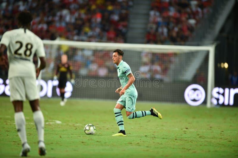 Kallang-Singapore-28Jul2018:Mesut Ozil 10 Player of arsenal in. Action during icc2018 between arsenal against at paris saint-german at national stadium stock image