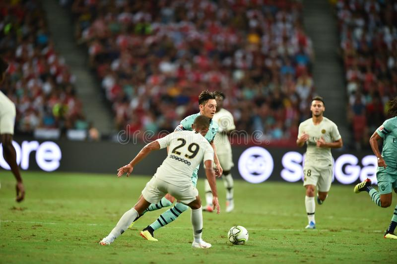 Kallang-Singapore-28Jul2018:Mesut Ozil 10 Player of arsenal in. Action during icc2018 between arsenal against at paris saint-german at national stadium stock photo