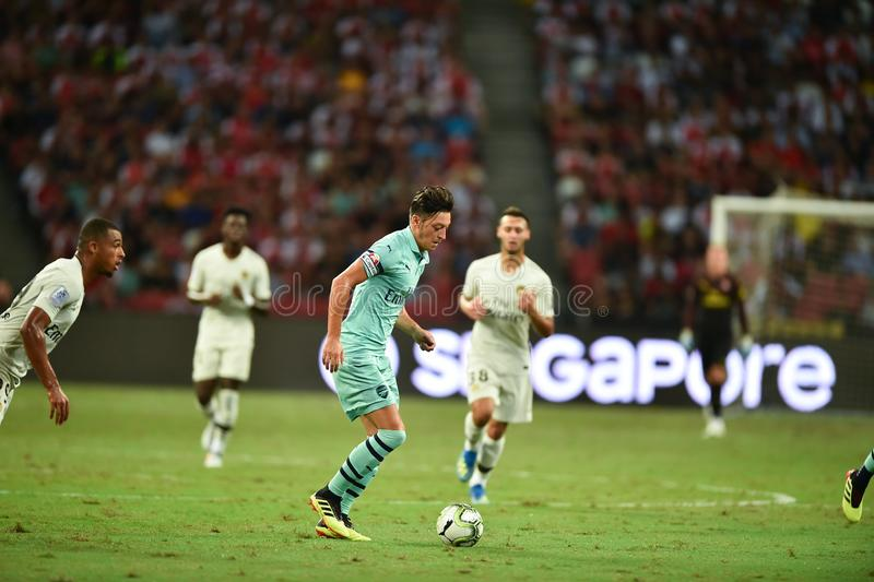 Kallang-Singapore-28Jul2018:Mesut Ozil 10 Player of arsenal in. Action during icc2018 between arsenal against at paris saint-german at national stadium stock photos