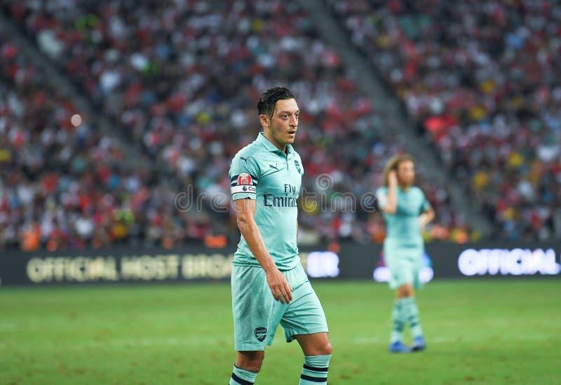 Kallang-Singapore-28Jul2018:Mesut Ozil #10 Player of arsenal in. Action during icc2018 between arsenal against at paris saint-german at national stadium royalty free stock image