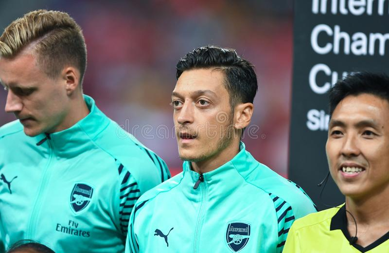 Kallang-Singapore-28Jul2018: Mesut Ozil Player av arsenalen i acti arkivbild