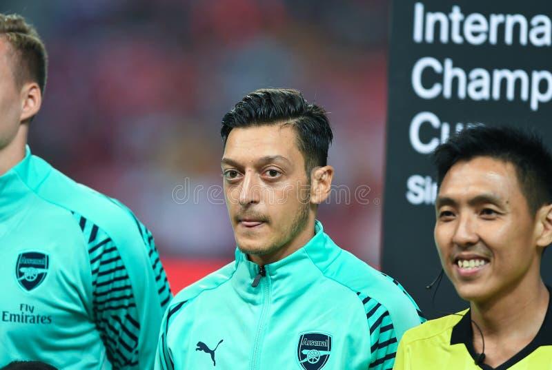 Kallang-Singapore-28Jul2018: Mesut Ozil Player av arsenalen i acti arkivfoto