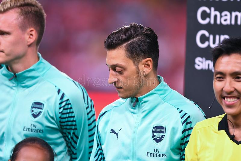 Kallang-Singapore-28Jul2018: Mesut Ozil Player van arsenaal in acti stock fotografie