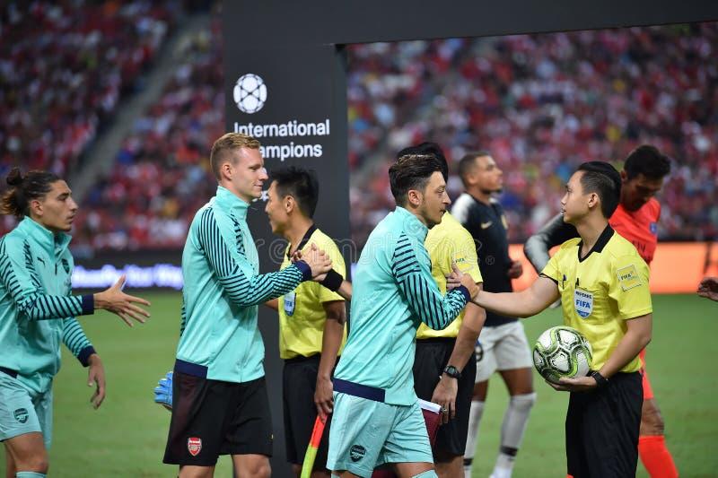 Kallang-Singapore-28Jul2018: Mesut Ozil 10 spelare av arsenalen in royaltyfri bild