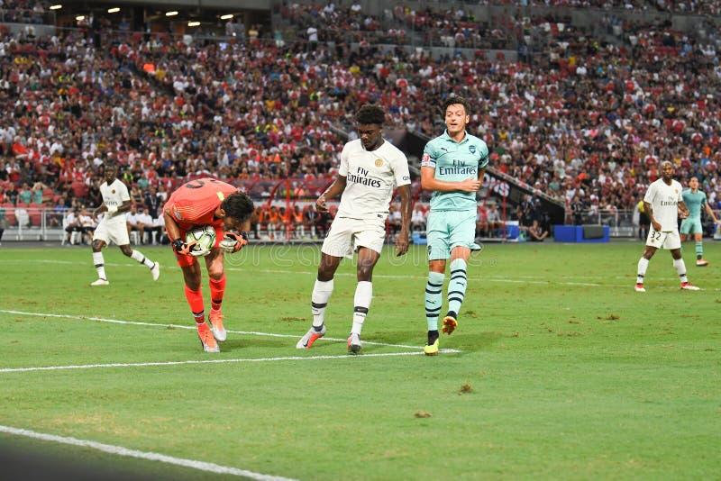 Kallang-Singapore-28Jul2018: Mesut Ozil 10 spelare av arsenalen in royaltyfri foto