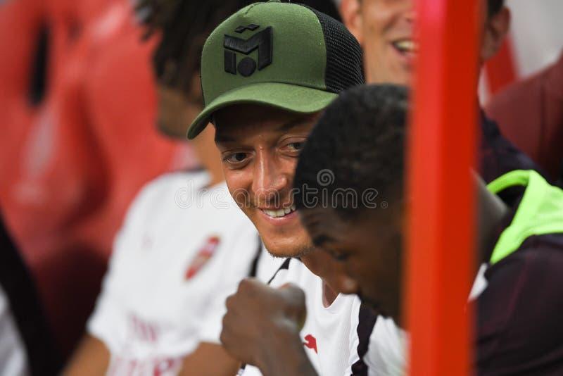 Kallang-Singapore-26Jul2018: Mesut ozil speler 10 van arsenaal binnen stock afbeelding
