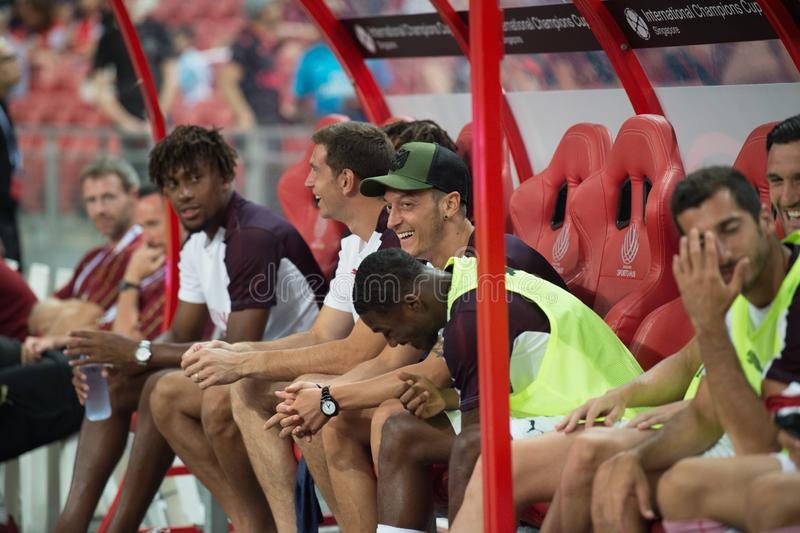 Kallang-Singapore-26Jul2018: Mesut ozil speler 10 van arsenaal binnen royalty-vrije stock afbeelding