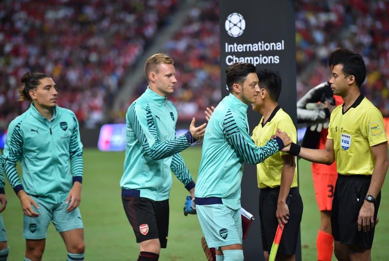 Kallang-Singapore-28Jul2018: Mesut Ozil 10 Speler van arsenaal binnen stock afbeelding