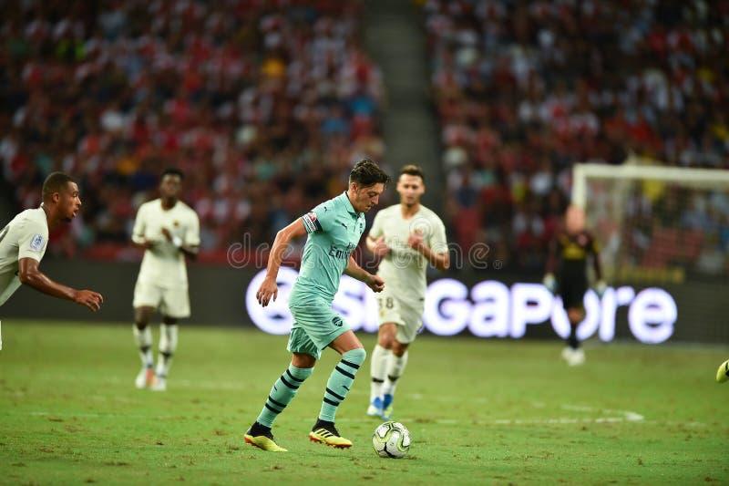 Kallang-Singapore-28Jul2018: Mesut Ozil 10 Speler van arsenaal binnen stock foto's