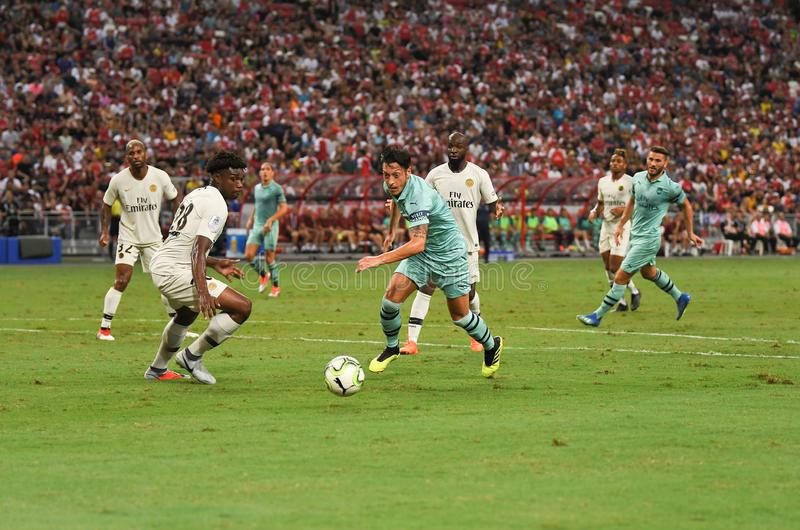 Kallang-Singapore-28Jul2018: Mesut Ozil 10 Speler van arsenaal binnen stock foto