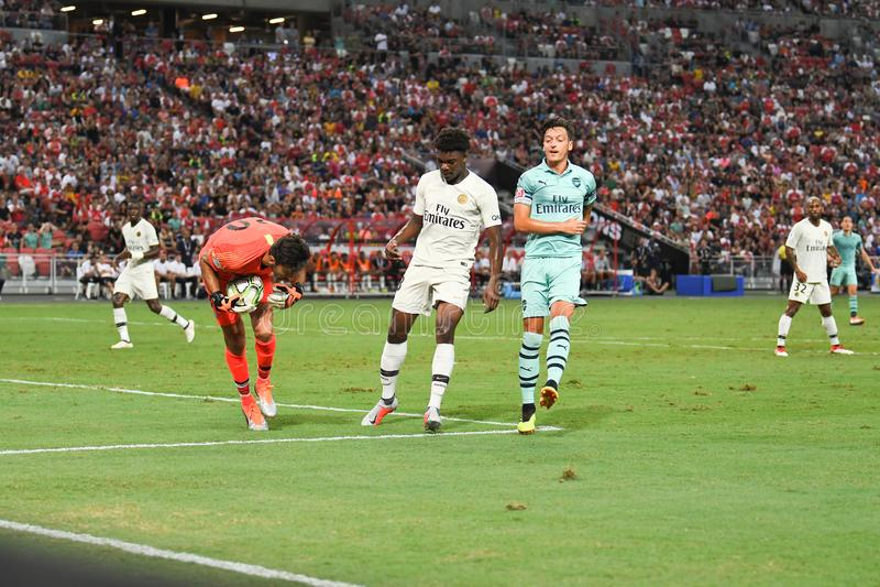 Kallang-Singapore-28Jul2018: Mesut Ozil 10 Speler van arsenaal binnen royalty-vrije stock foto