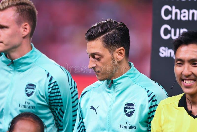 Kallang-Singapore 28 luglio 2018: Mesut Ozil Player dell'arsenale in acti fotografia stock