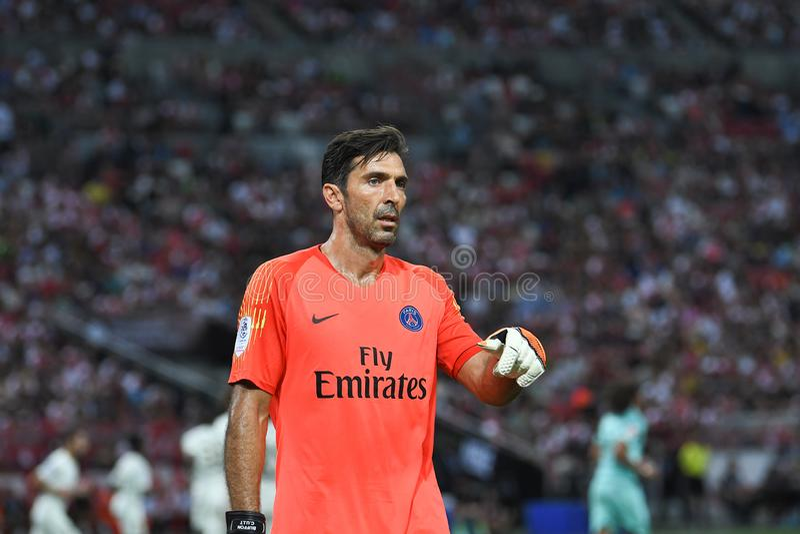 Kallang-Singapour 28 juillet 2018 : Joueur de Gianluigi Buffon 30 de PSG i photo libre de droits