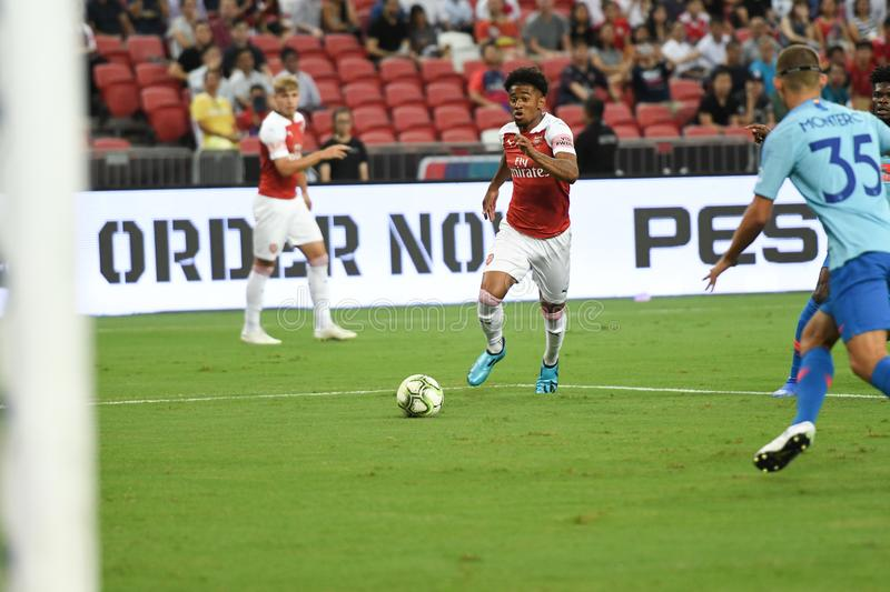 Kallang-Singapour 26 juillet 2018 : Joueur de Reiss Nelson #48 d'arsenal photo stock