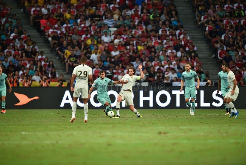 Kallang-Singapur 28 de julio de 2018: Jugador 25 del rabiot de Adrien [c] de PSG i foto de archivo