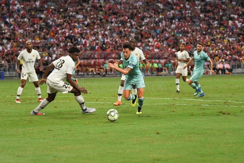 Kallang-Singapur 28 de julio de 2018: Jugador de Mesut Ozil 10 del arsenal adentro imágenes de archivo libres de regalías
